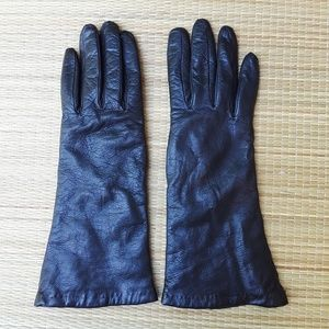 Henri Bendel Leather Cashmere Lined Leather Gloves